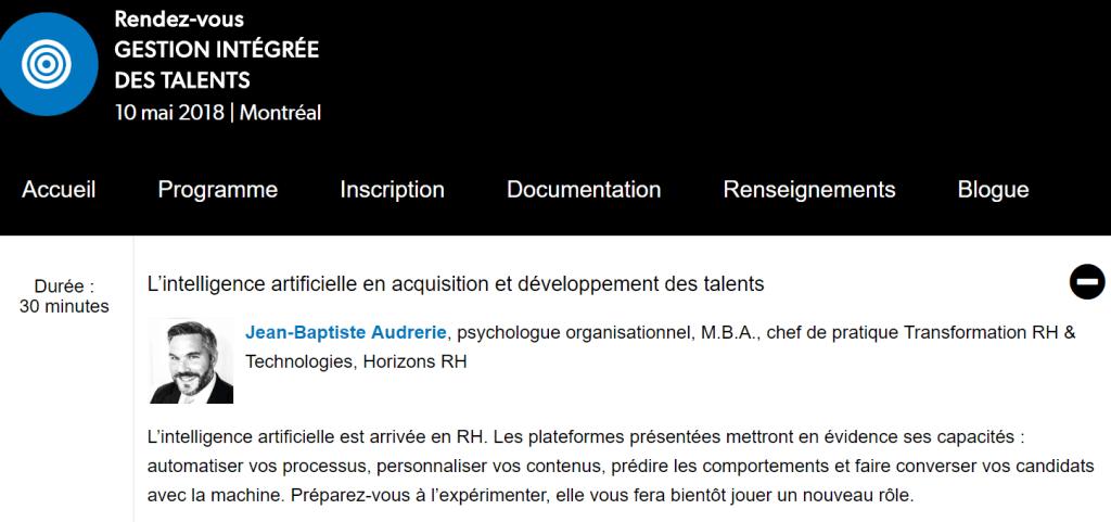 CRHA_Conférence_Gestion intégrée des talents_Montréal_Intelligence Artificielle